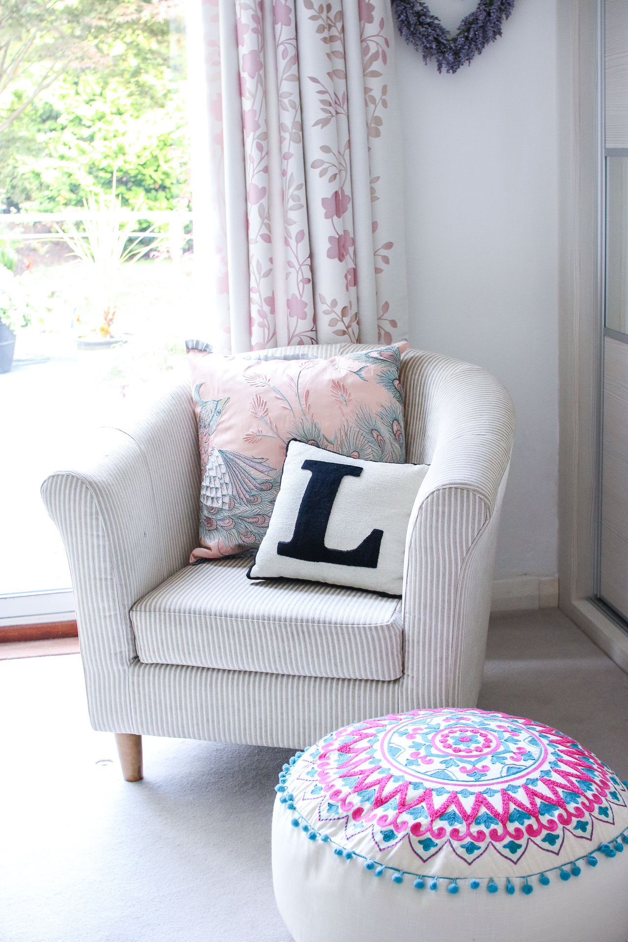 pretty bedroom chair pouffe girly pastel