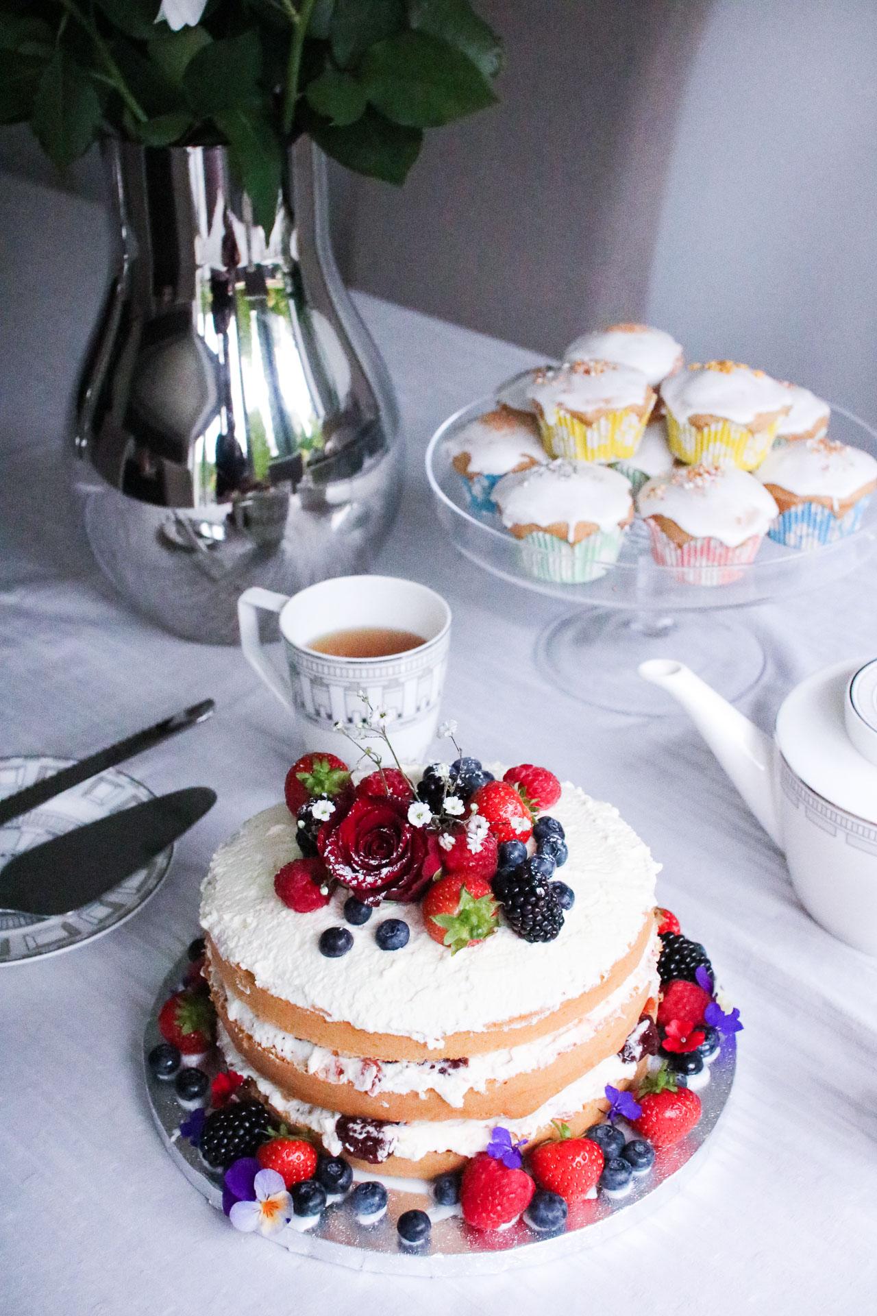 rustic victoria sponge cake floral naked