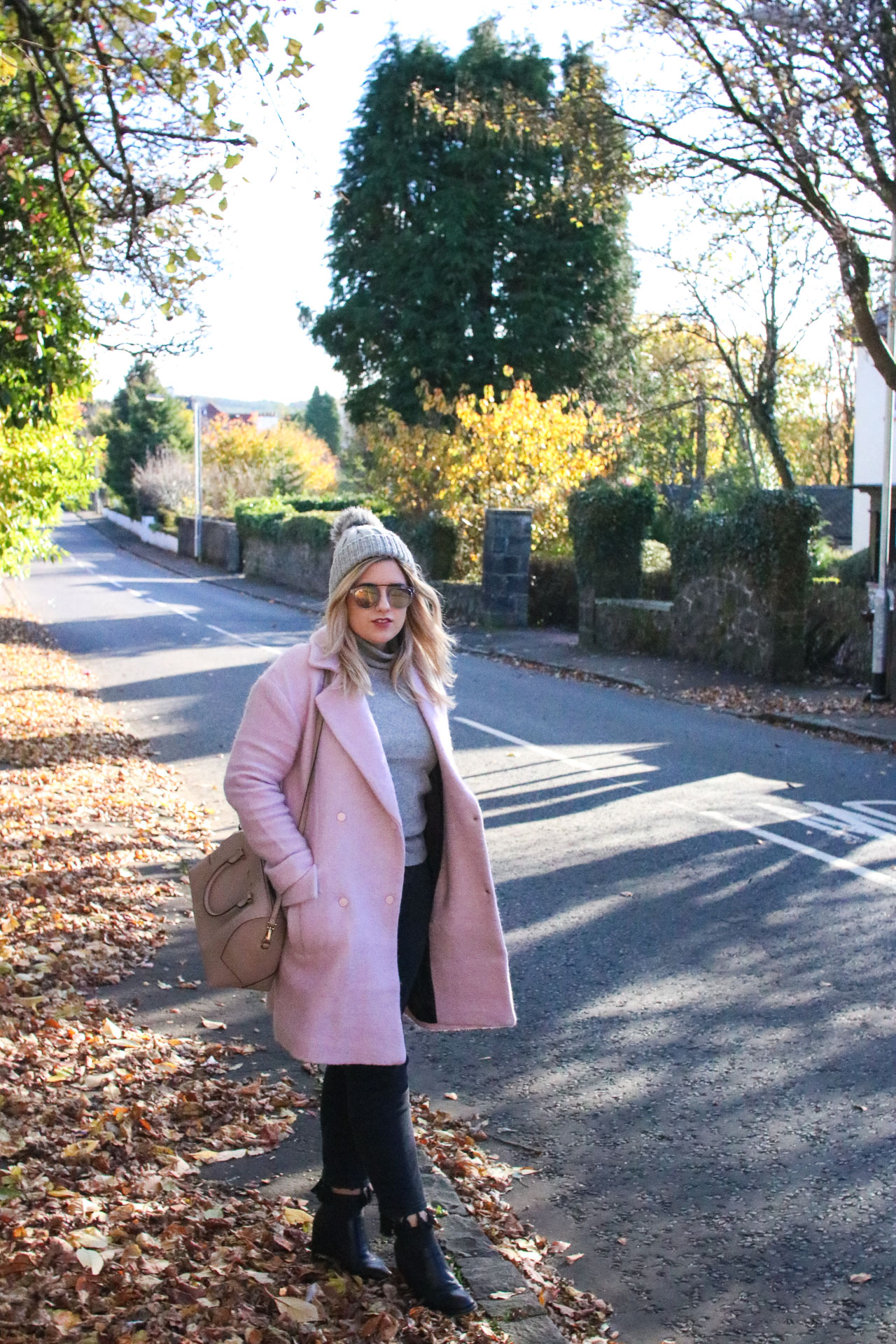 pink coat winter outfit autumn