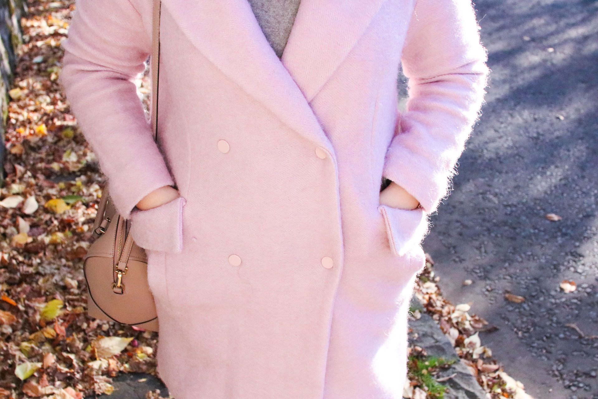pink coat lost ink winter outfit