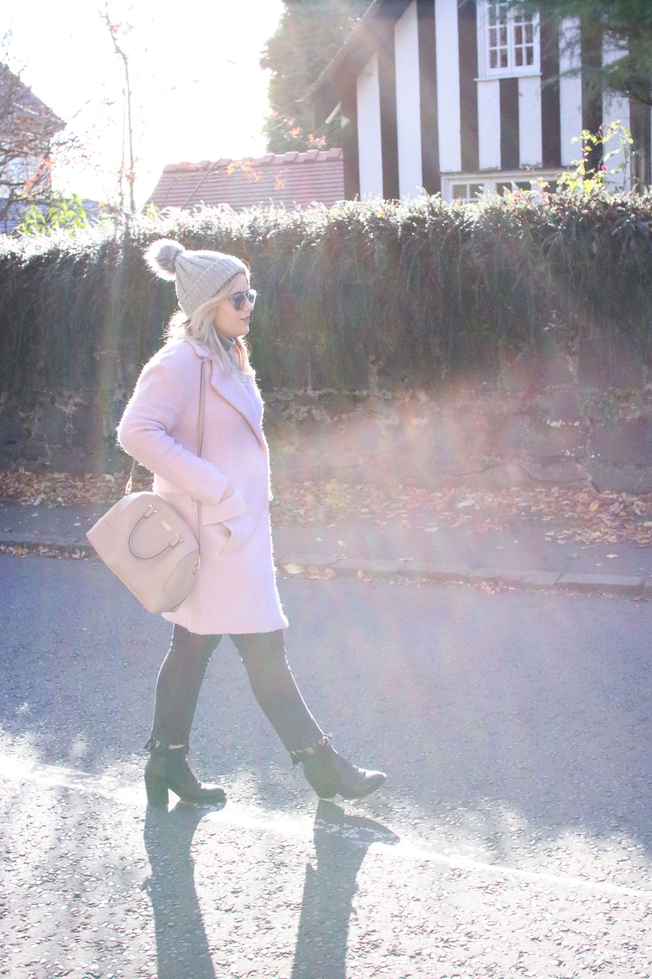 pink coat winter outfit autumn fashion