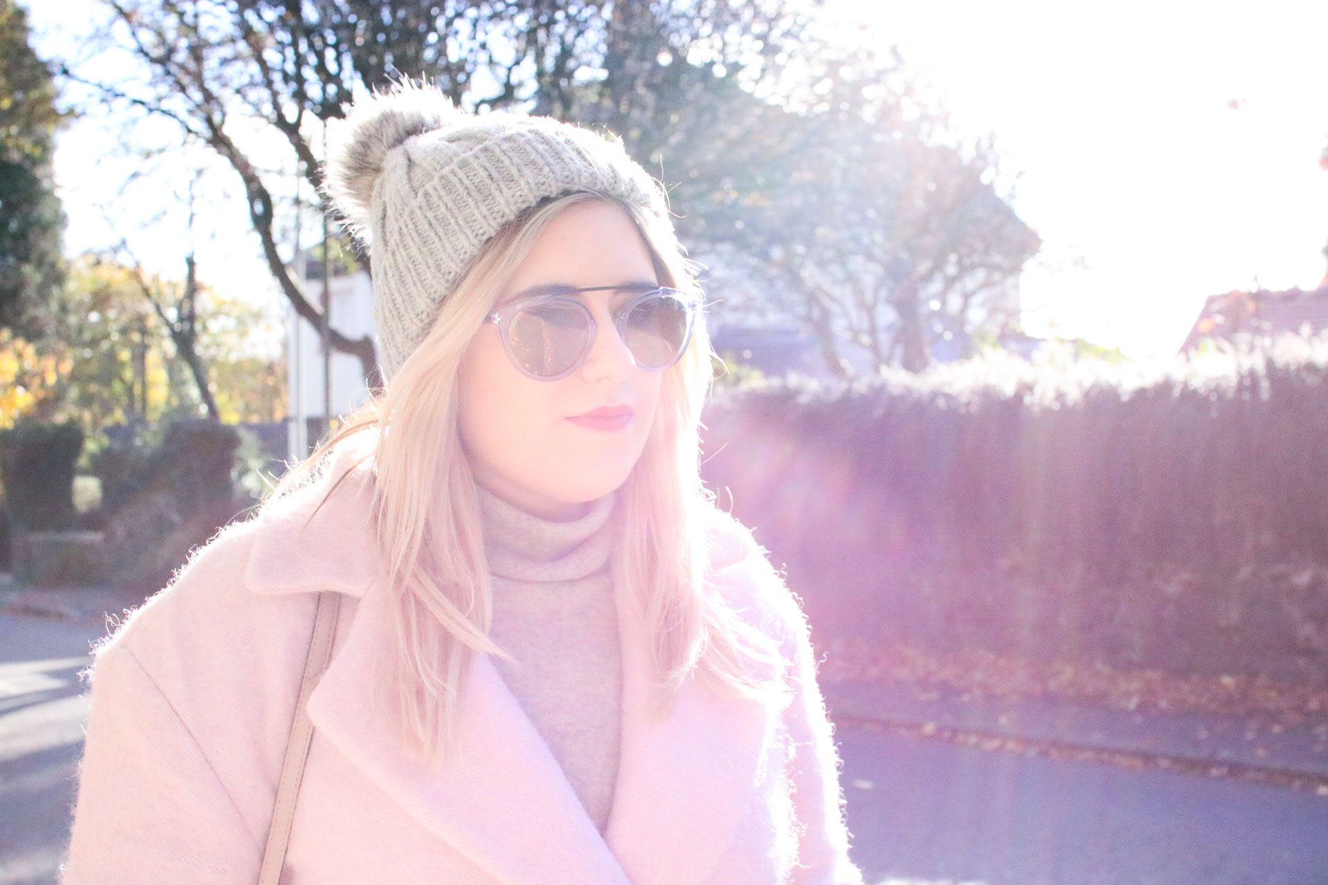 pink coat winter outfit autumn warm