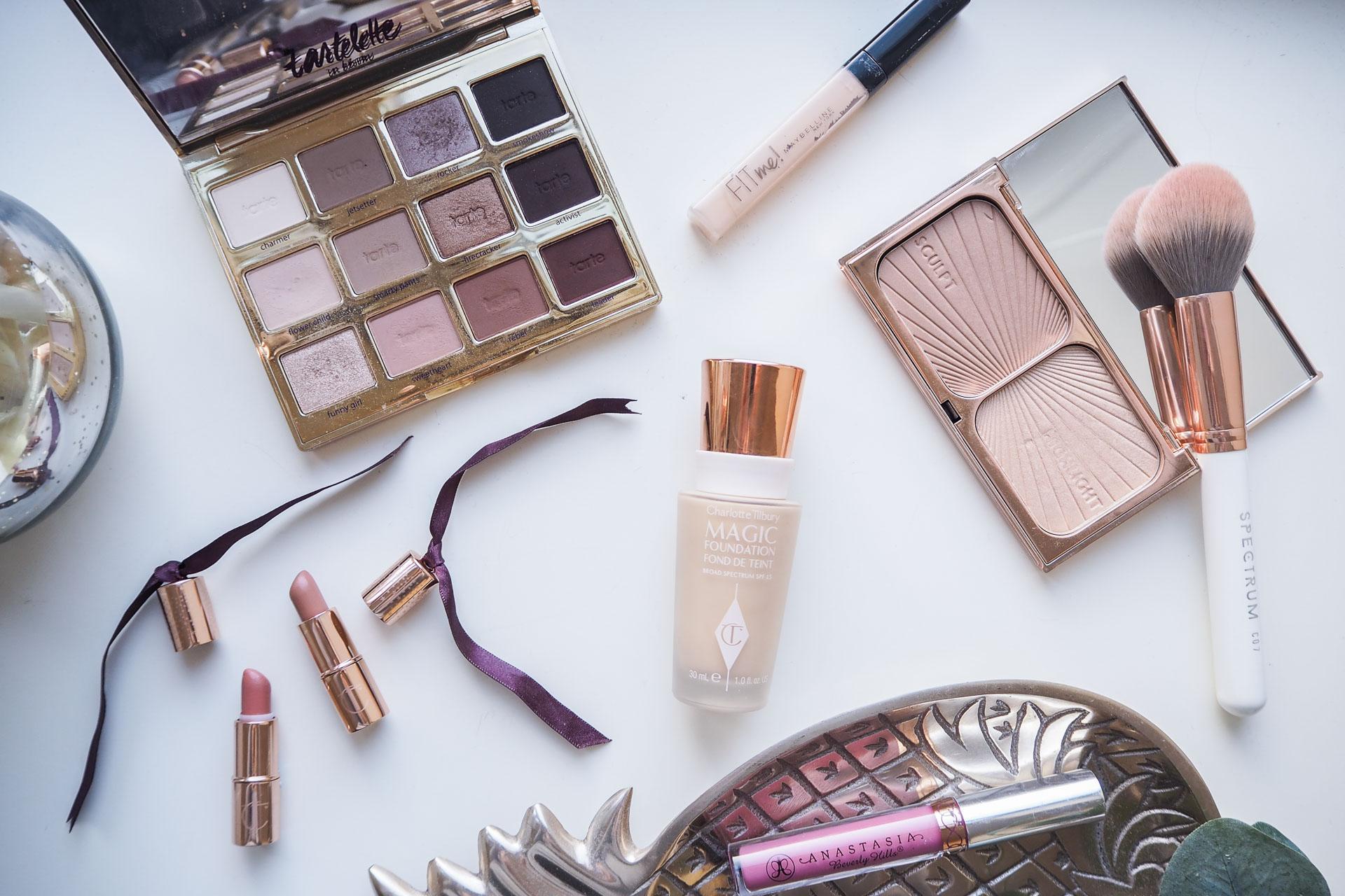 makeup favourites 2017. charlotte tilbury, tarte, anatasia, maybelline