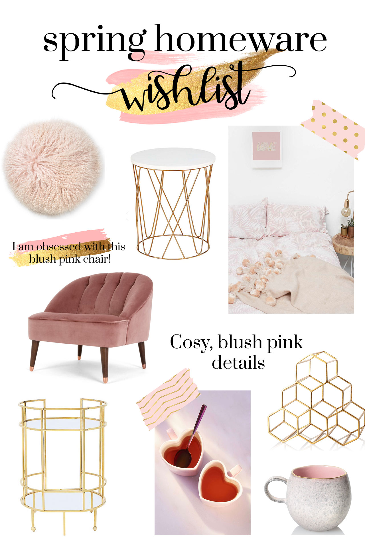 spring homeware wish list. blush pink, gold interiors