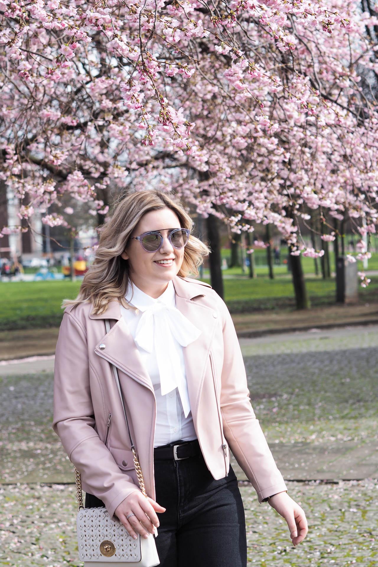 spring fashion white shirt cherry blossom