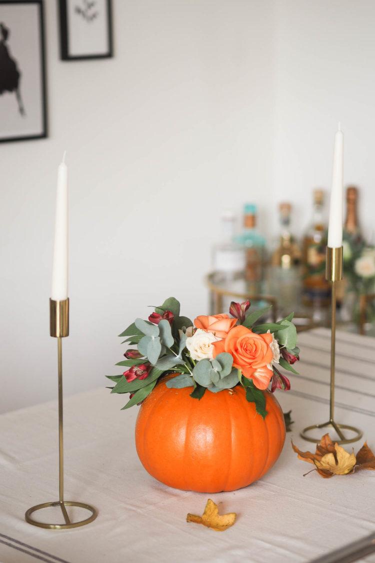 DIY Pumpkin floral arrangement